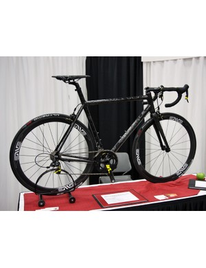 Matt Appleman's handbuilt carbon fiber road frame was tucked in the corner of NAHBS's new builder area