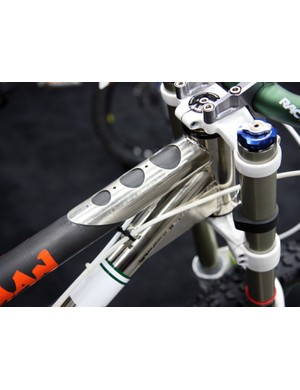 Interestingly, Bicycle Innovations use a carbon fiber top tube on their downhill bike in an effort to shave a few grams from the otherwise all-steel frame