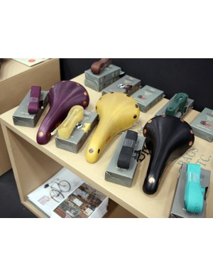 Brooks once only did their leather saddles in black and various shades of brown but now there are lots of colors to choose from, along with matching leather bar tape