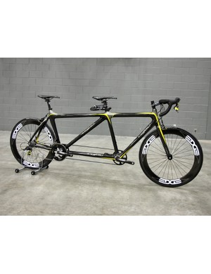 Cyfac's full-carbon road tandem was remarkably light, especially with this high-zoot build kit