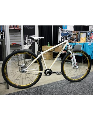 Milwaukee Bicycle Co provided the Hayes Bicycle Group with this steel hardtail frame on which to hang their goods at NAHBS
