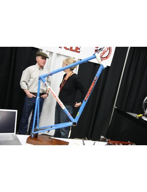 Strawberry went minimal this year with a single blue-and-white road frame at NAHBS