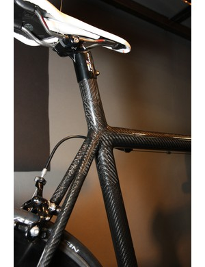 Strong's carbon road frame uses an integrated seatmast
