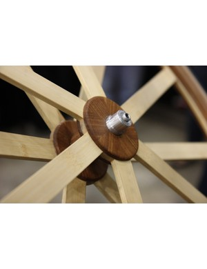 Wheel Fanatyk used White Industries guts for their amazing wooden-spoked wheel at NAHBS