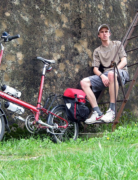Darren Alff with his folding Bike Friday touring bike