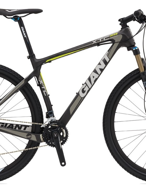 The second-tier Giant XtC Composite 29er 1 will use the same frame as the 0 but a lesser parts spec to bring the price down to a more reasonable $2,500