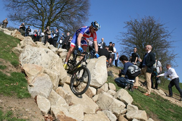 Team GB's Liam Killeen (Giant) takes on the rock garden descent at Hadleigh Farm