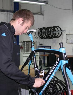 It's not just about the Classics. Here another mechanic works on building Simon Gerrans's fourth bike of the season