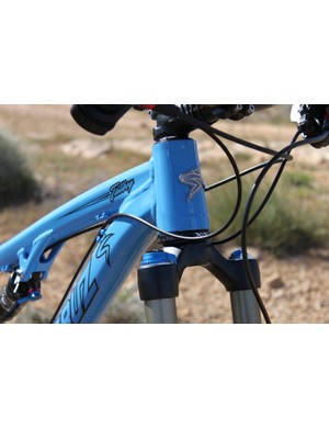 A tapered head tube keeps the front end stiff and accepts a larger down tube