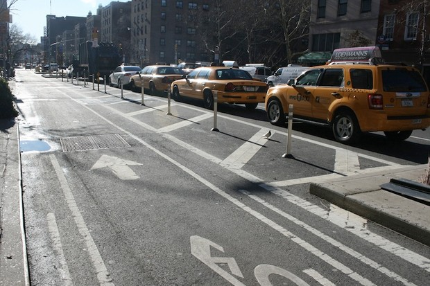 A seperated bike lane along Broadway Avenue in New York City