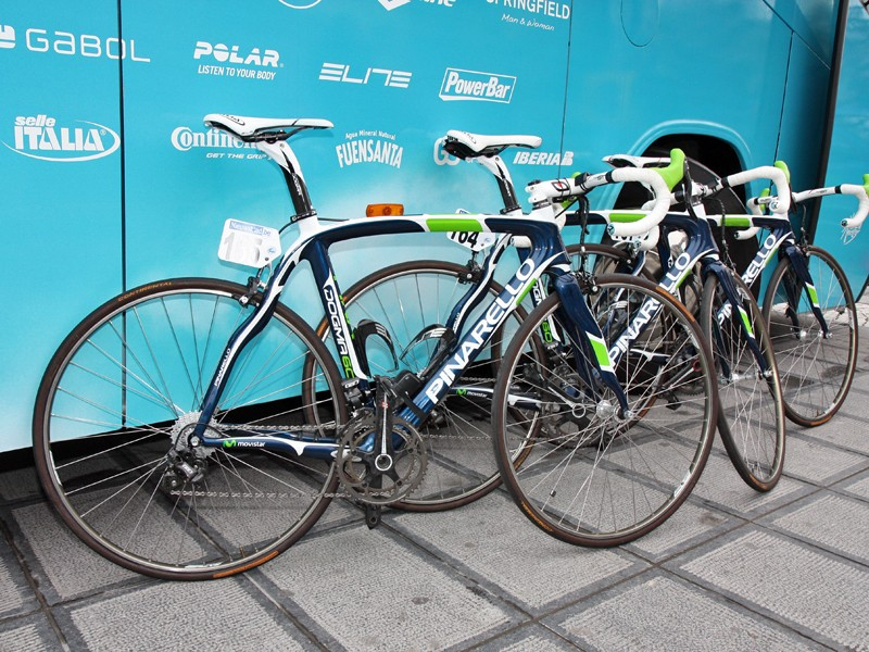 Movistar brought a full fleet of Campagnolo electric-equipped Pinarello Dogmas to Ronde van Vlaanderen.