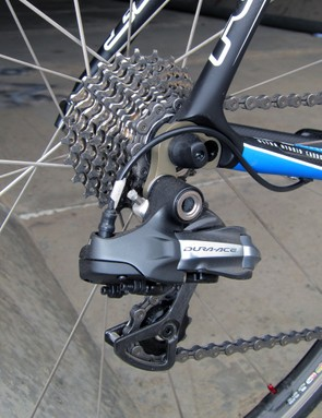 Felt includes a Shimano Dura-Ace Di2 transmission but subs in a 105 cassette and chain to help keep the retail price somewhat reasonable