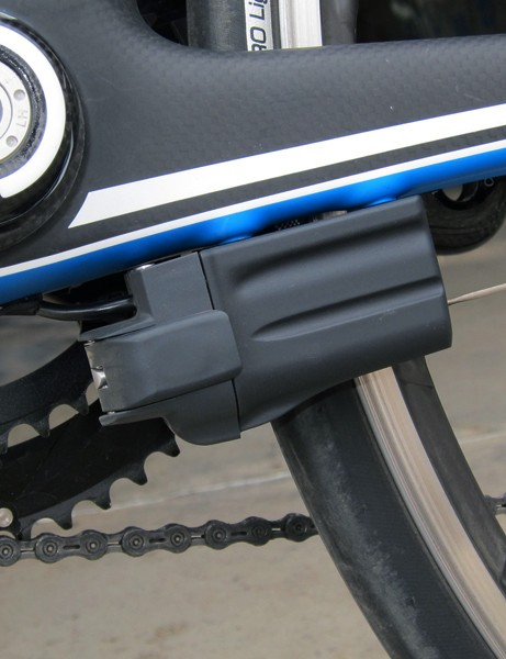 The Shimano Dura-Ace Di2 battery is neatly tucked away on the non-driveside chain stay