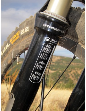RockShox says these pressure guidelines are intended to just get users in the ballpark.  We ultimately ended up running the positive pressure 20psi below recommendations and a +5psi pressure differential in the negative chamber for the plushest possible ride and proper sag on our test setup