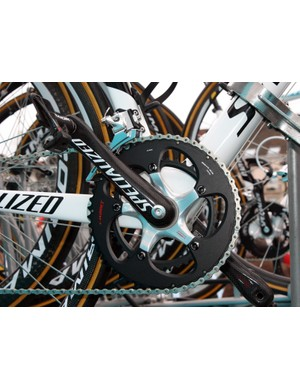 Astana team bikes are equipped with Specialized's own S-Works carbon cranks and chainrings.