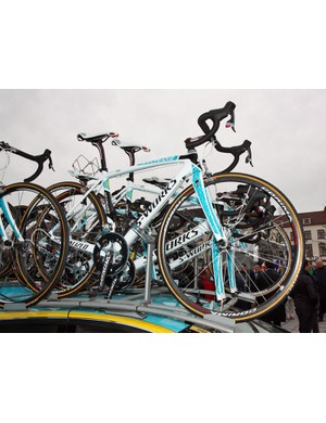 Astana's Specialized S-Works Tarmac SL3 machines get fresh new paint jobs for the 2011 season.
