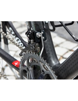 Chain watchers have become virtually standard equipment as seen on this Lampre-ISD bike.
