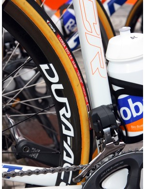 Rabobank went for 25mm-wide Corsa Evo CX tires while most other Vittoria-sponsored teams opted for 24mm Paves.