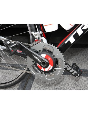 RadioShack riders used a mix of SRAM cranksets at Ronde van Vlaanderen including both power meter equipped and standard models.