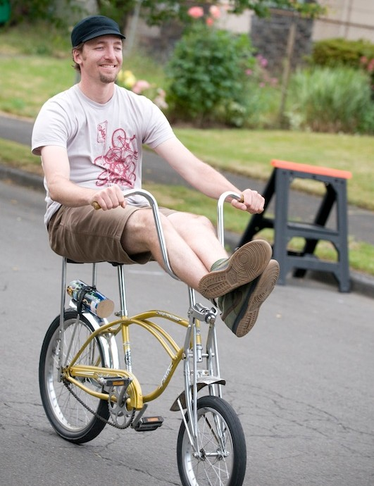 Maus embracing Portland bicycle culture