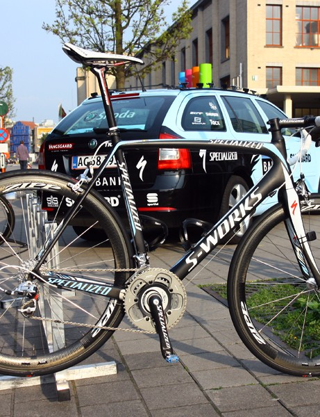 Sorry, this isn't the bike of Tour of Flanders winner Nick Nuyens but it's virtually identical to this one, ridden by Saxo Bank-Sungard teammate (and former Giro d'Italia stage winner) Gustav Larsson.
