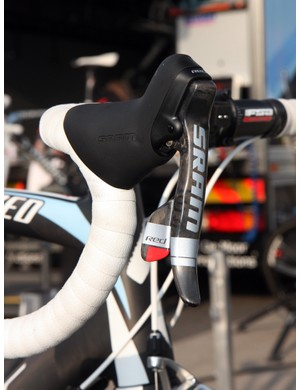 SRAM Red DoubleTap levers are mounted relatively high on the FSA bars.