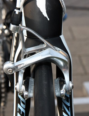 Saxo Bank-Sungard's SRAM Red brake calipers are fitted with new grey-compound SwissStop carbon-specific pads.