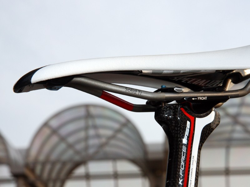 Solid titanium rails keep weight low but are still sturdy enough for Ronde van Vlaanderen cobbles.