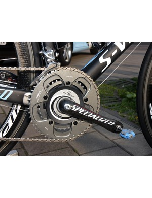 Gustav Larsson (Saxo Bank-Sungard) uses an SRM power measuring spider mounted on his Specialized FACT carbon crankarms.