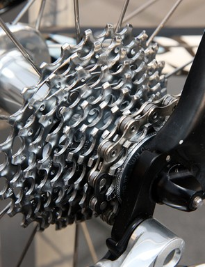 The PG-1070 cassette is heavier than the trick Red unit but like most SRAM-sponsored teams, Saxo Bank-Sungard prefers there for their quieter running and better resistance to clogging with debris.