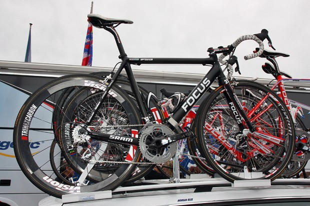 Filippo Pozzato's (Katusha) bike was equipped with a new shallow-profile carbon tubular wheel at the start of the Tour of Flanders