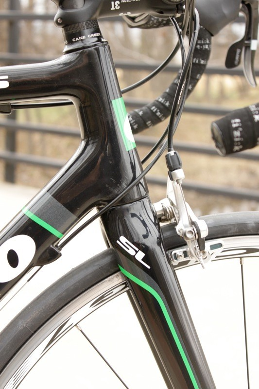The steerer tapers from 1-1/8in to 1-3/8in, which Cervelo say they found to be the optimal size