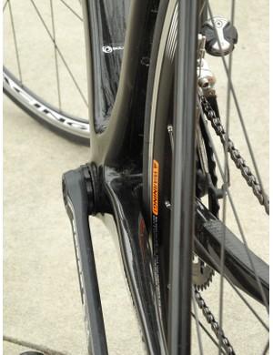 Both the down tube and seat tube are notably wider