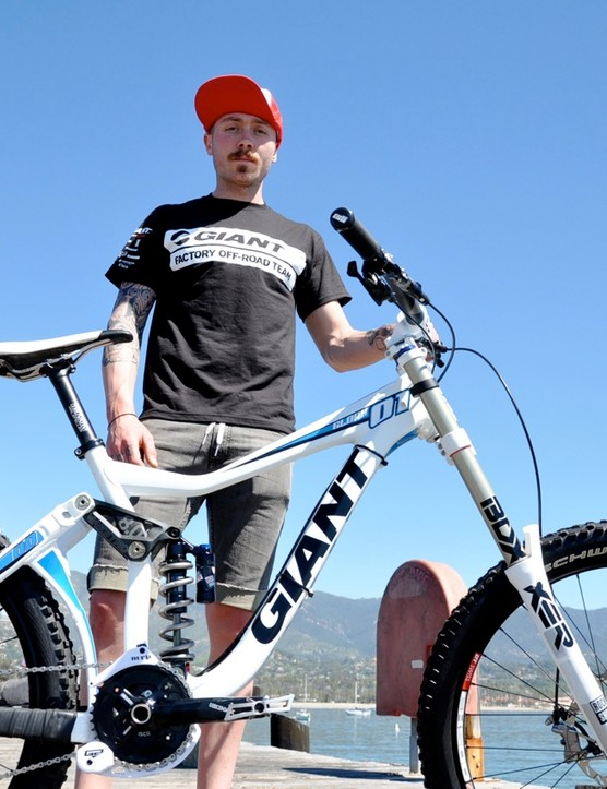 Duncan Riffle shows off his new 2011 Giant Glory on Goleta Pier during the Giant Factory Team training camp in his hometown of Santa Barbara, California