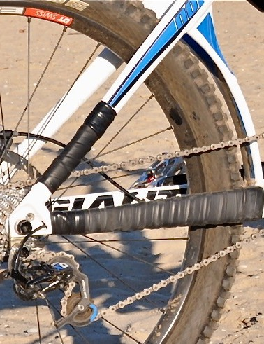 Low-tech but logical: driveside chainstay and seatstay protection comes from cut-up inner tubes and electrical tape