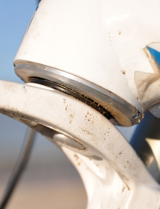 In order to get the stock Glory to more World Cup-friendly geometry, an adjustable head tube insert is used to attain a stated 63-degree head angle