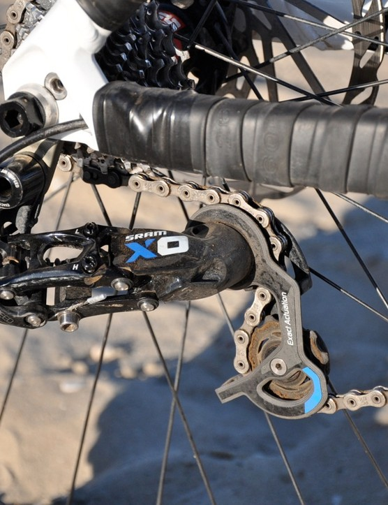Riffle will be running a stock SRAM X0 short-cage rear derailleur with a PG-1070 11-23T 10-speed cassette