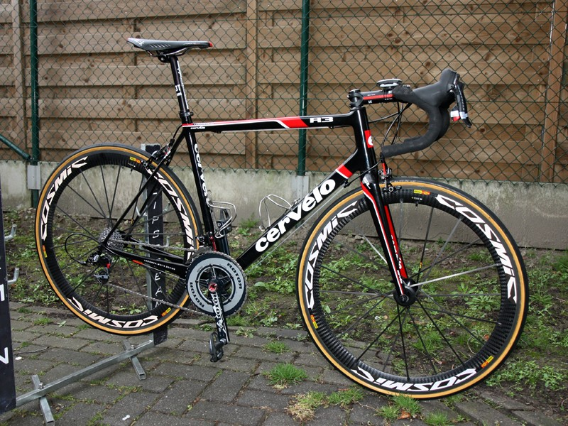 Thor Hushovd (Garmin-Cervelo) is hoping to claim Paris-Roubaix victory on Sunday on this specially modified Cervelo R3
