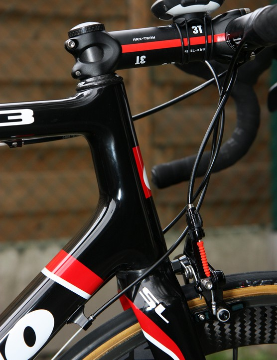 Cervelo have opted for a 1-3/8in lower steerer diameter instead of the more common 1-1/2in, saying it yields a better ride while still offering improved steering precision