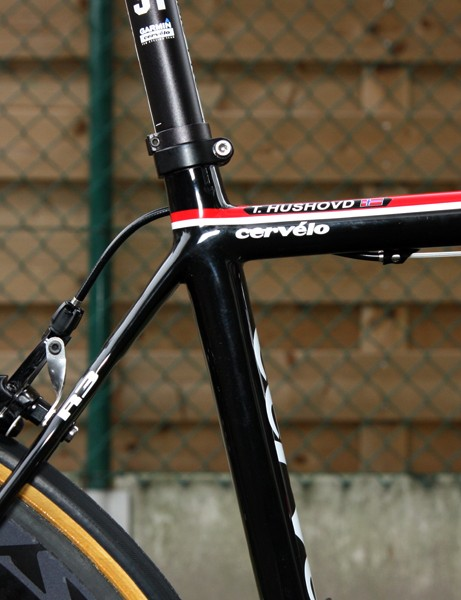 The impossibly svelte-looking seat cluster of Thor Hushovd's (Garmin-Cervelo) Paris-Roubaix machine