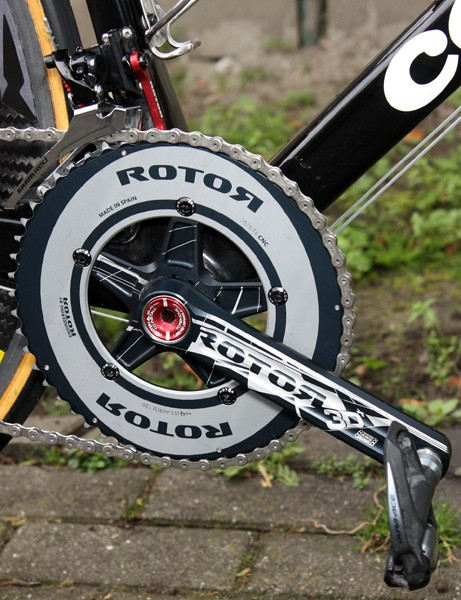 Thor Hushovd's (Garmin-Cervelo) bike is fitted with Rotor's 3D+ crankset with a solid outer ring for extra stiffness. Note the round shape, too, instead of Rotor's more recognizable elliptical Q-Rings