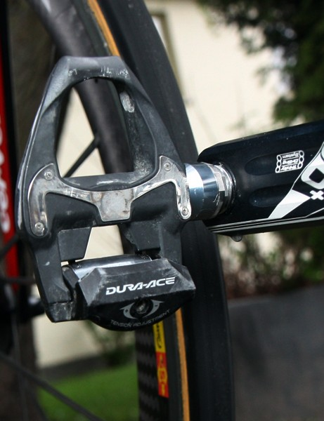 Thor Hushovd (Garmin-Cervelo) will use Shimano's latest carbon-bodied Dura-Ace SPD-SL pedals for Paris-Roubaix