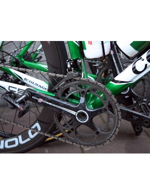 Europcar's team Colnago C59 bikes were fitted with Campagnolo Record groups.