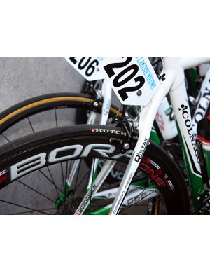 Hutchinson tires are mounted to deep-section Campagnolo Bora carbon tubular wheels on this Europcar machine.