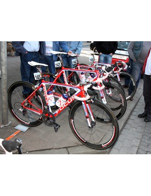 Katusha's Focus bikes are fitted with a mix of FSA and Vision carbon wheels prior to the start of Scheldeprijs.