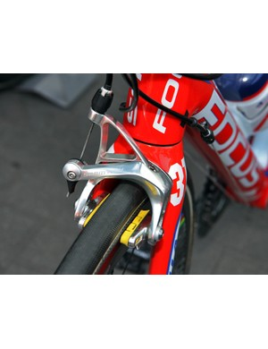 SwissStop Yellow King pads are fitted to the SRAM Red brake caliper on Katusha's team bikes for predictable stopping performance on carbon rims.