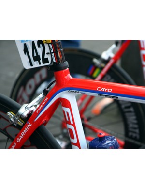 Katusha riders have their choice of Focus frames - Vladimir Gusev has opted for the Cayo.