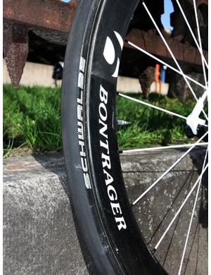 25mm-wide Schwalbe tires are mounted on Bontrager's new wide-profile carbon tubulars.