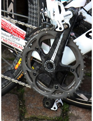 Omega Pharma-Lotto bikes are fitted with Campagnolo Record cranks - and this one already has Paris-Roubaix gearing.