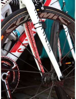 Omega Pharma-Lotto's classics-specific Canyon Ultimate AL Pave bikes are easily distinguished by the unique paint job.